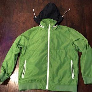 Gap packaway hood Lime Green zip Windbreaker